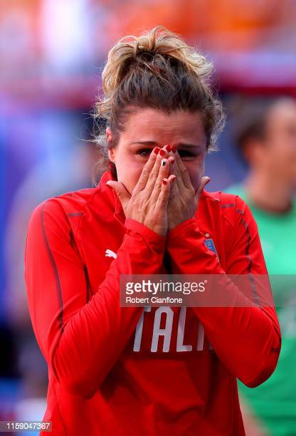 Cristiana Girelli of Italy looks dejected following defeat in the 2019 FIFA Women's World Cup France Quarter Final match between Italy and...
