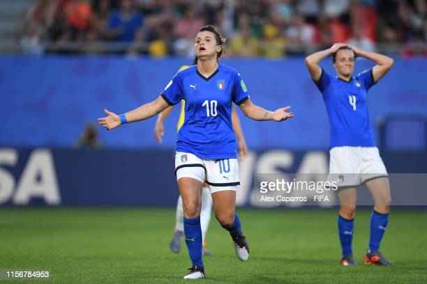 Cristiana Girelli of Italy reacts after her goal is disallowed during the 2019 FIFA Women's World Cup France group C match between Italy and Brazil...