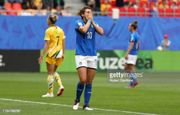 Cristiana Girelli of Italy reacts during the 2019 FIFA Women's World Cup France group C match between Australia and Italy at Stade du Hainaut on June...
