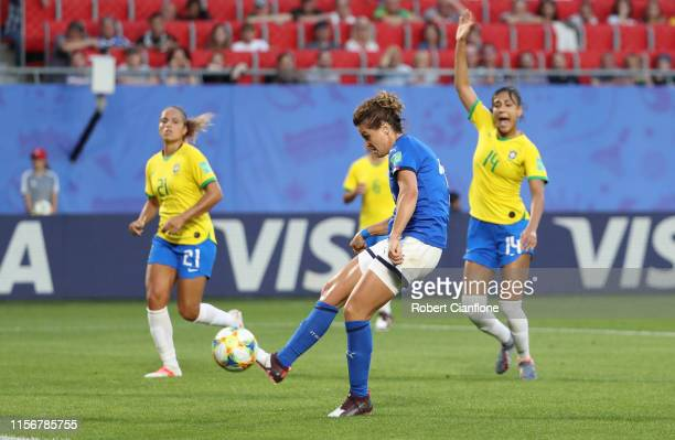 Cristiana Girelli of Italy scores her team's first goal however it is disallowed during the 2019 FIFA Women's World Cup France group C match between...
