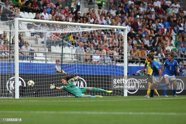 Cristiana Girelli of Italy scores her team's second goal past Sydney Scheider of Jamaica during the 2019 FIFA Women's World Cup France group C match...