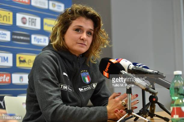 Cristiana Girelli of Italy Women attends a press conference on June 12, 2019 in Reims, France.