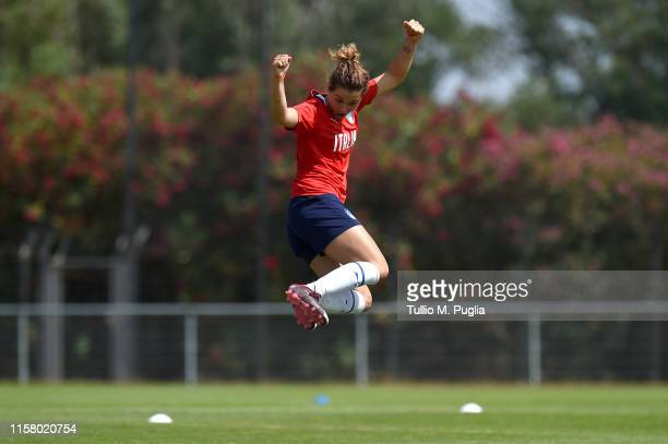 Cristiana Girelli of Italy Women celebrates during a training session at Training Center MHSC Bernard Gasset Grammont on June 24, 2019 in...