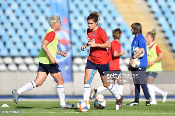 Cristiana Girelli of Italy Women in action during a training session at Stadium Lille Metropole on June 17, 2019 in in Villeneuve d'Ascq near Lille,...