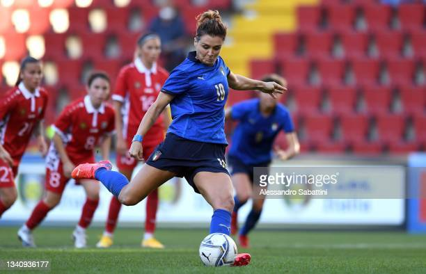 Cristiana Girelli of Italy Women scores her team second goal during the FIFA Women's World Cup 2023 Qualifier group G match between Italy and Moldova...