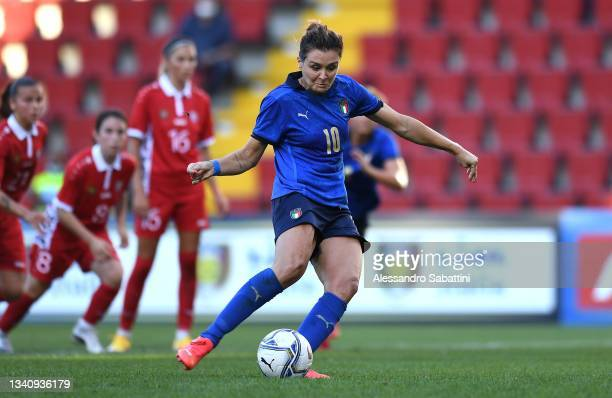 Cristiana Girelli of Italy Women scores his team second goal during the FIFA Women's World Cup 2023 Qualifier group G match between Italy and Moldova...