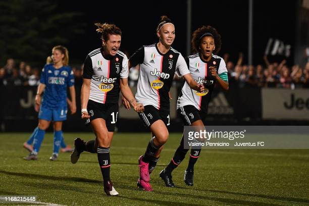 Cristiana Girelli of Juventus celebrates a goal during the Women Serie A match between Juventus and Empoli at Juventus Training Center on September...
