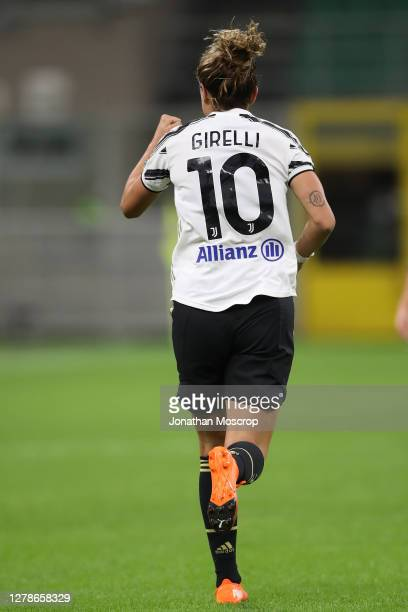 Cristiana Girelli of Juventus celebrates after scoring to give the side a 1-0 lead during the Women's Serie A match between AC Milan and Juventus at...