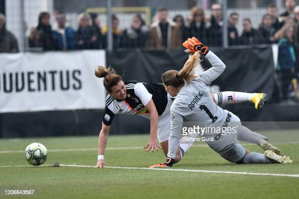 Cristiana Girelli of Juventus FC against Roberta Aprile of Internazionale FC during the Women Serie A match between Juventus and FC Internazionale on...