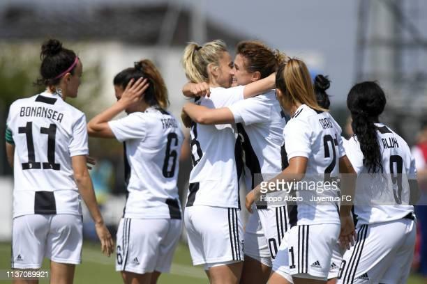 Cristiana Girelli of Juventus Women celebrates with her teammate Martina Rosucci after scoring a goal during the Women Serie A match between Juventus...