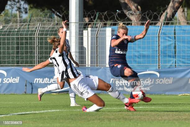 Cristiana Girelli of Juventus Women scores the opening goal during the pre-season friendly match between Montpellier Women and Juventus Women at...