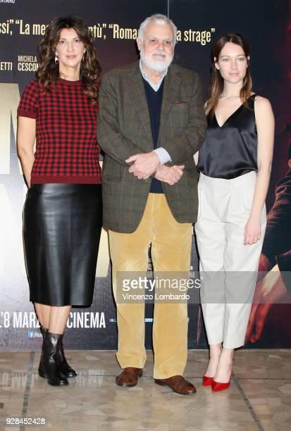 Cristiana Mainardi Marco Tullio Giordana and Cristiana Capotondi attend a photocall for 'Nome di Donna' on March 7 2018 in Milan Italy