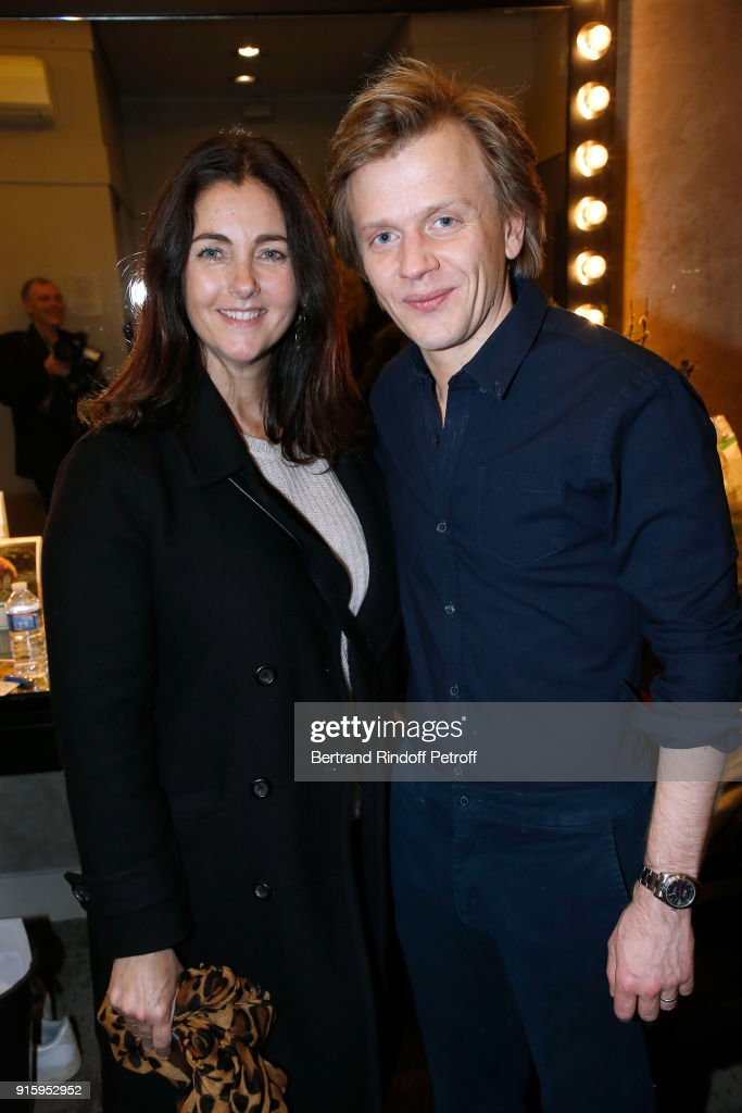 Cristiana Reali and Alex Lutz pose after the Alex Lutz One Man Show At L'Olympia on February 8, 2018 in Paris, France.