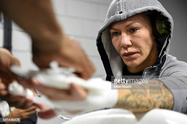 Cristiane 'Cyborg' Justino gets her hands wrapped backstage during the UFC 198 event at Arena da Baixada stadium on May 14 2016 in Curitiba Parana...