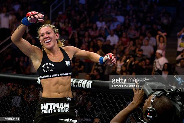 Cristiane 'Cyborg' Santos celebrates after her victory over Gina Carano during the inaugural Strikeforce Women's Championship event at HP Pavilion on...