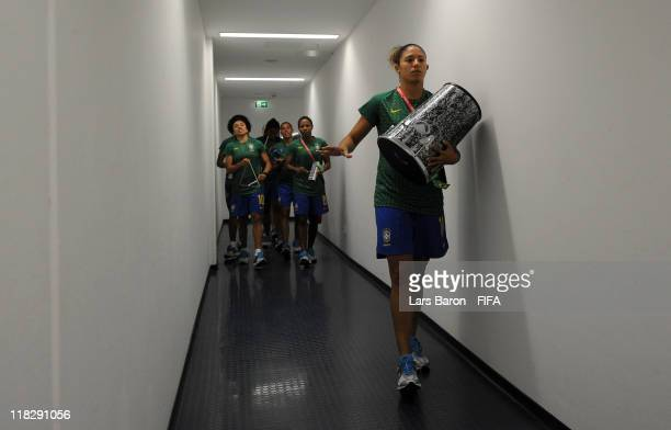 Cristiane Marta and other team mates attend the stadium and play music prior to the FIFA Women's World Cup 2011 Group D match between Equatorial...