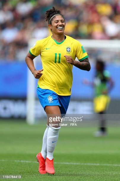 Cristiane of Brazil celebrates after scoring her team's first goal during the 2019 FIFA Women's World Cup France group C match between Brazil and...