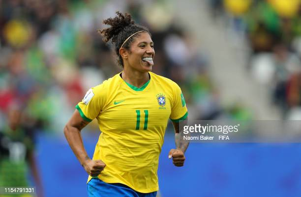 Cristiane of Brazil celebrates after scoring her team's second goal during the 2019 FIFA Women's World Cup France group C match between Brazil and...