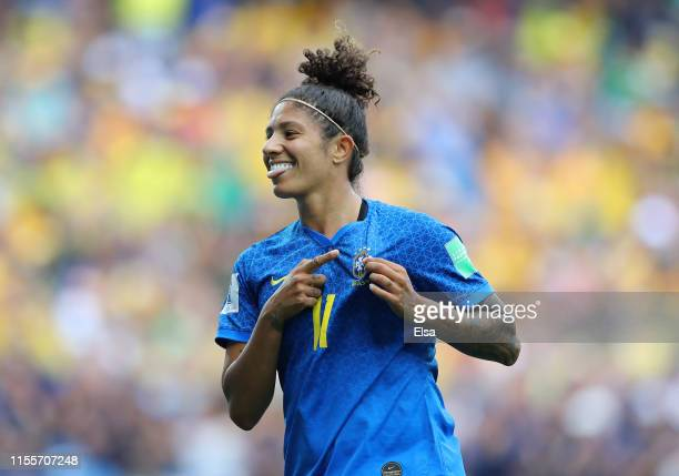 Cristiane of Brazil celebrates after scoring her team's second goal during the 2019 FIFA Women's World Cup France group C match between Australia and...