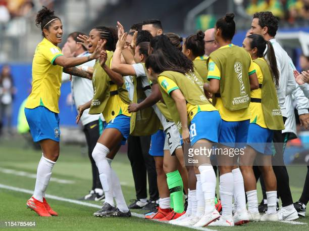 Cristiane of Brazil celebrates with teammates after scoring her team's first goal during the 2019 FIFA Women's World Cup France group C match between...