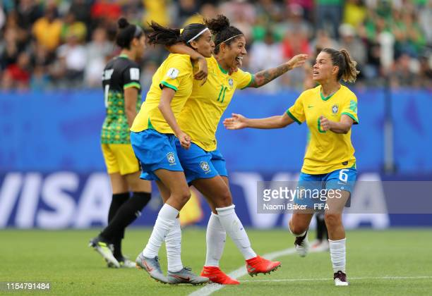 Cristiane of Brazil celebrates with teammates after scoring her team's second goal during the 2019 FIFA Women's World Cup France group C match...