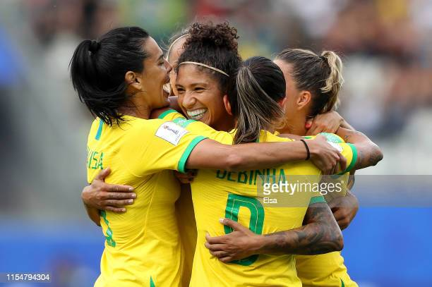 Cristiane of Brazil celebrates with teammates after scoring her team's third goal during the 2019 FIFA Women's World Cup France group C match between...