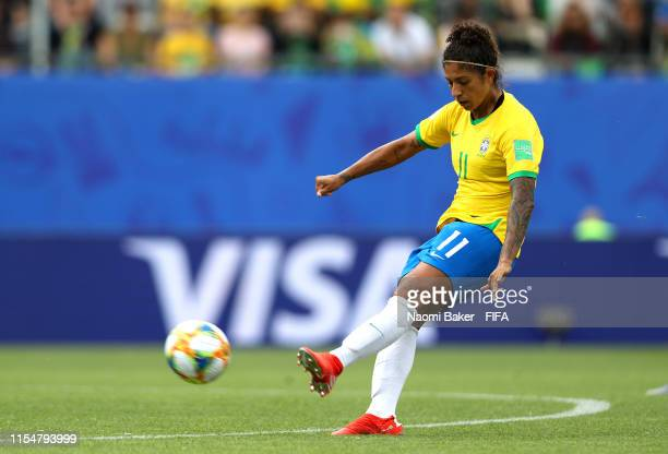 Cristiane of Brazil scores her team's third goal during the 2019 FIFA Women's World Cup France group C match between Brazil and Jamaica at Stade des...