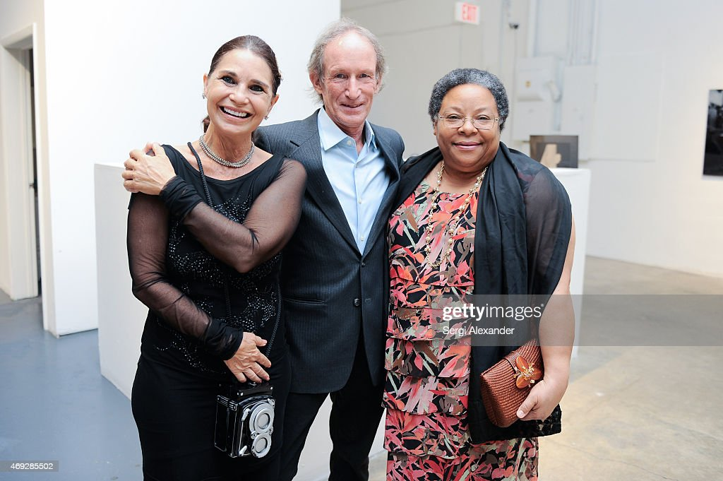 Cristiane Roget, William Chewning and Nadia Greenidge attend Andrew Levitas Metalwork Playground opening reception at Blueshift Wynwood on April 10, 2015 in Miami, Florida.