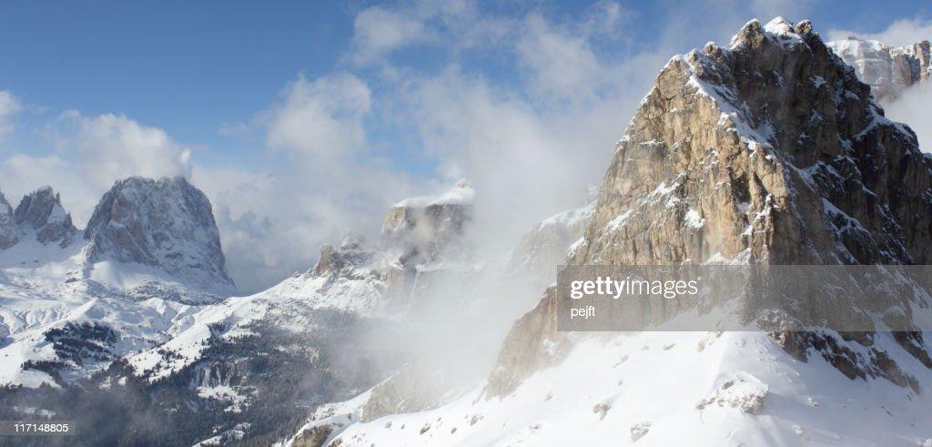 Cristiania winter mountain peak the Dolomites : Stock Photo