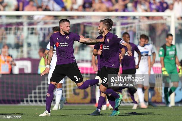 Cristiano Biraghi of ACF Fiorentina celebrates after scoring a goal during the Serie A match between ACF Fiorentina and Atalanta BC at Stadio Artemio...