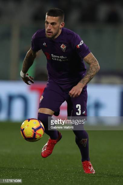 Cristiano Biraghi of ACF Fiorentina in action during the Coppa Italia match between ACF Fiorentina and Atalanta BC on February 27 2019 in Florence...