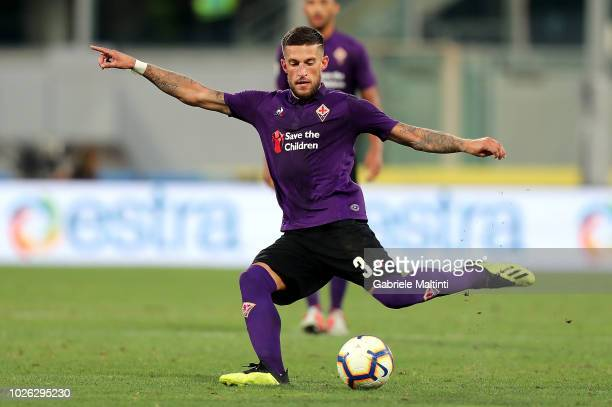 Cristiano Biraghi of ACF Fiorentina in action during the serie A match between ACF Fiorentina and Udinese at Stadio Artemio Franchi on September 2...