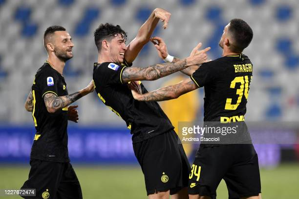 Cristiano Biraghi of FC Internazionale celebrates with Alessandro Bastoni after scoring the goal of 0-2 during the Serie A football match between...