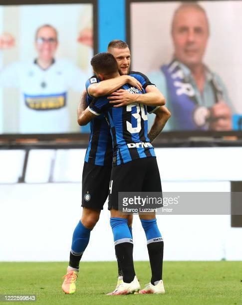 Cristiano Biraghi of FC Internazionale celebrates with Milan Skriniar after scoring the second goal during the Serie A match between FC...