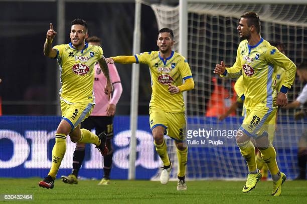 Cristiano Biraghi of Pescara celebrates after scoring the penalty during the Serie A match between US Citta di Palermo and Pescara Calcio at Stadio...