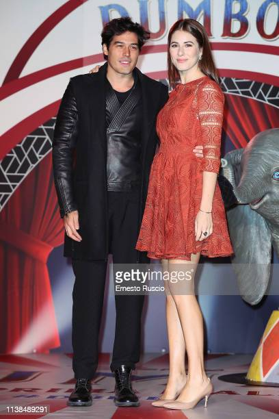 Cristiano Caccamo and Diana Del Bufalo attend a photocall for Dumbo at The Space Cinema Moderno on March 26 2019 in Rome Italy