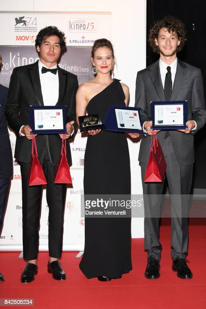 Cristiano Caccamo Paola Calliari and Vincenzo Crea attend the Kineo Diamanti Awards during the 74th Venice Film Festival at Excelsior Hotel on...