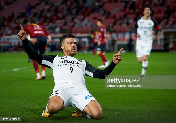 Cristiano da Silva of kashiwa Reysol celebrates after scoring a goal during the J.League Meiji Yasuda J1 match between Kashima Antlers and Kashiwa...