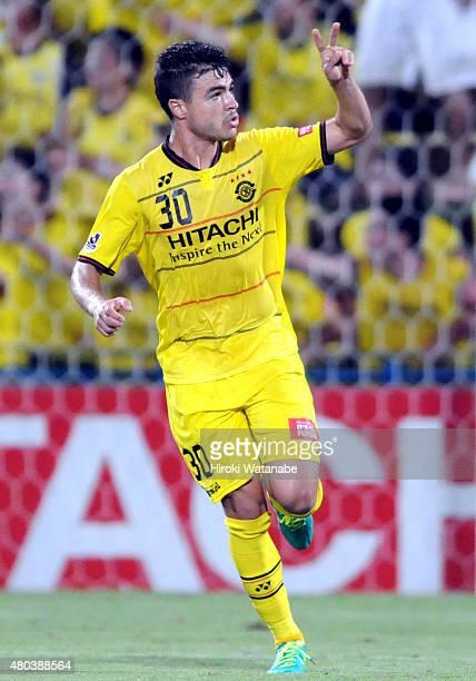 Cristiano da Silva of Kashiwa Reysol celebrates scoring a goal during the JLeague match between Kashiwa Reysol and Sagan Tosu at Hitachi Kashiwa...