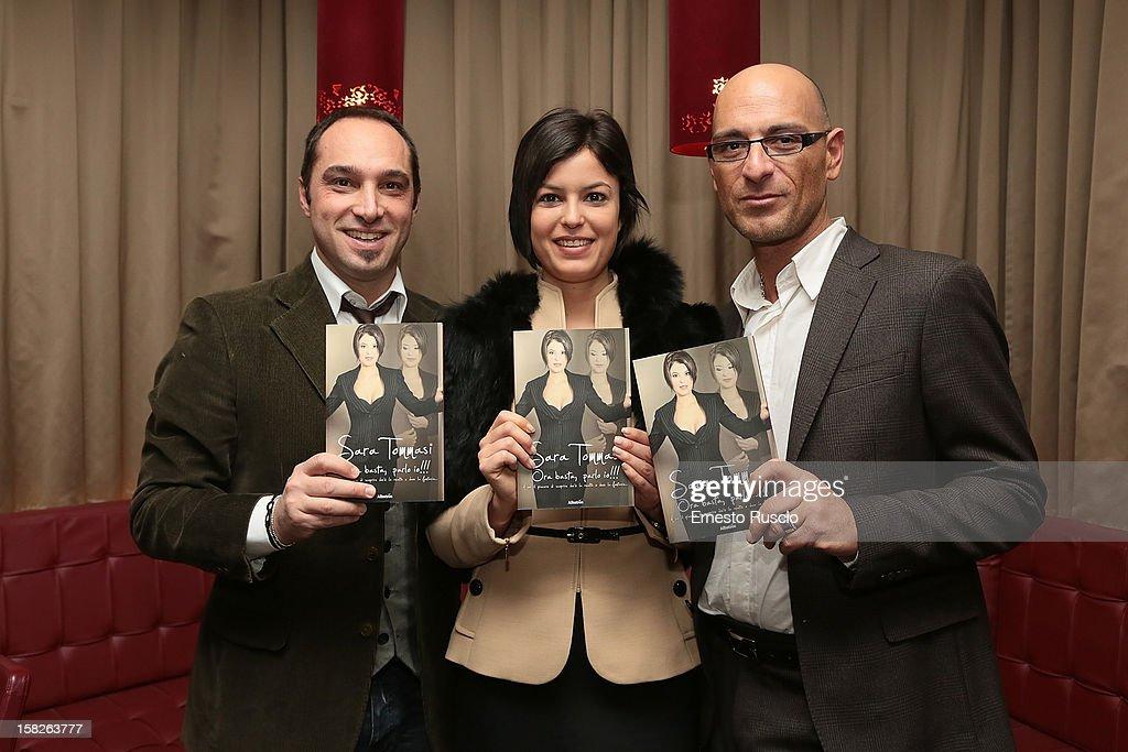 Cristiano De Masi, Sara Tommasi and Corrado Ferrante attend the Book Launch 'Ora Basta Parlo Io' at Elle Restaurant on December 12, 2012 in Rome, Italy.