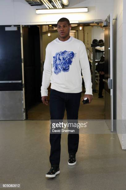 Cristiano Felicio of the Chicago Bulls arrives at the arena before the game against the Minnesota Timberwolves on February 24 2018 at Target Center...