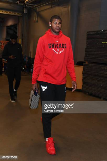 Cristiano Felicio of the Chicago Bulls arrives before the game against the Denver Nuggets on November 30 2017 at the Pepsi Center in Denver Colorado...