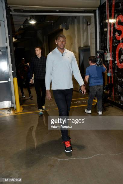 Cristiano Felicio of the Chicago Bulls arrives to the game against the LA Clippers on March 15 2019 at STAPLES Center in Los Angeles California NOTE...