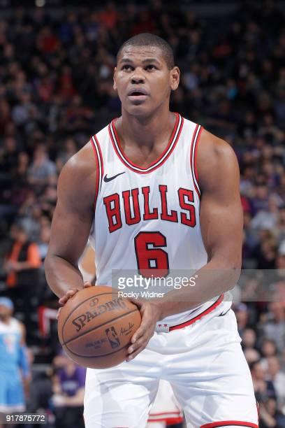 Cristiano Felicio of the Chicago Bulls attempts a free-throw shot against the Sacramento Kings on February 5, 2018 at Golden 1 Center in Sacramento,...