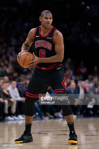 Cristiano Felicio of the Chicago Bulls controls the ball against the Philadelphia 76ers at the Wells Fargo Center on February 9, 2020 in...