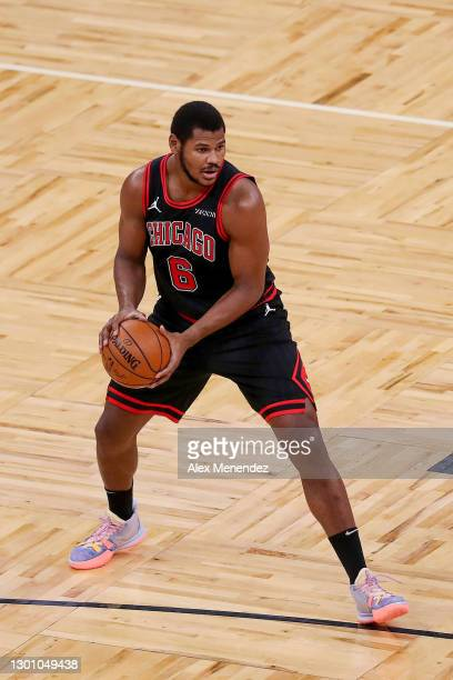 Cristiano Felicio of the Chicago Bulls controls the ball against the Orlando Magic at Amway Center on February 6, 2021 in Orlando, Florida. NOTE TO...