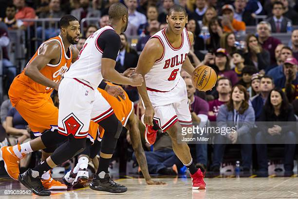 Cristiano Felicio of the Chicago Bulls drives during the second half against the Cleveland Cavaliers at Quicken Loans Arena on January 4 2017 in...
