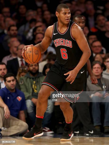 Cristiano Felicio of the Chicago Bulls drives in the second half against the New York Knicks at Madison Square Garden on January 10 2018 in New York...