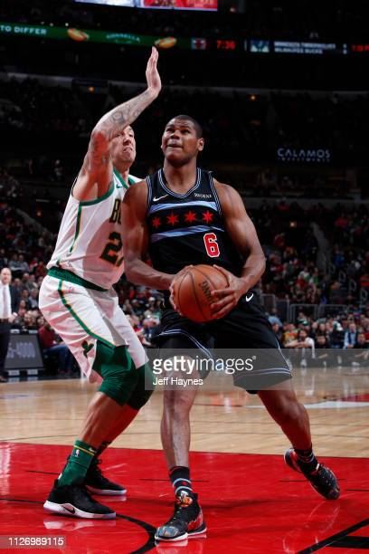 Cristiano Felicio of the Chicago Bulls drives to the basket against the Boston Celtics on February 23 2019 at United Center in Chicago Illinois NOTE...