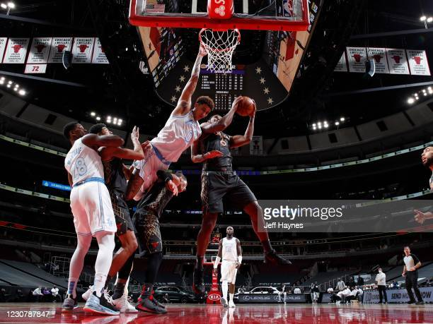 Cristiano Felicio of the Chicago Bulls drives to the basket against the Los Angeles Lakers on January 23, 2021 at United Center in Chicago, Illinois....